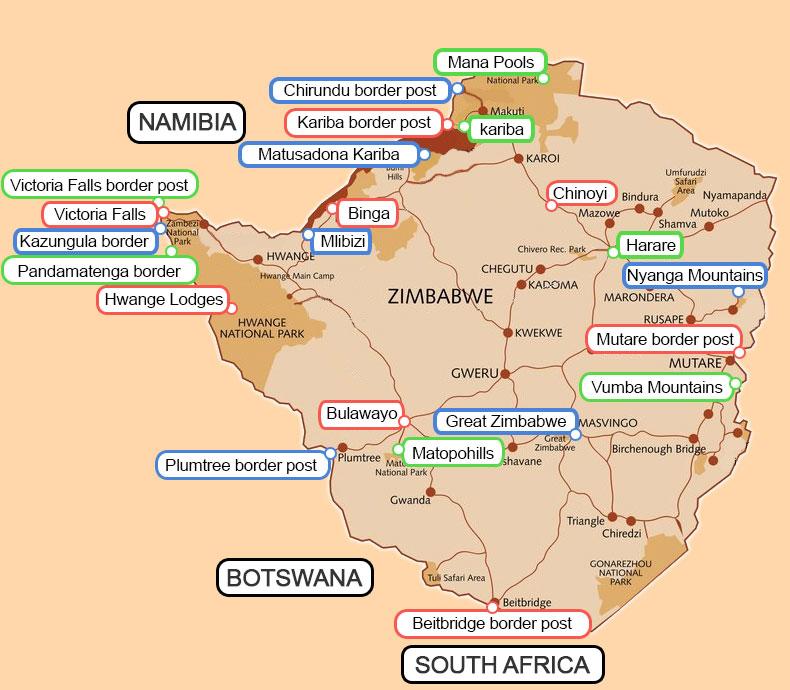 Lake Kariba Africa Map.Zimbabwe Lodges And Hotels